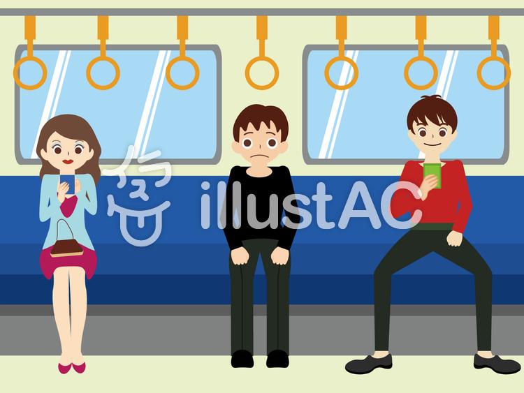 電車内の風景人物ありイラスト No 1415728無料イラストなら