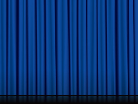 Stage with floor and curtain · Blue
