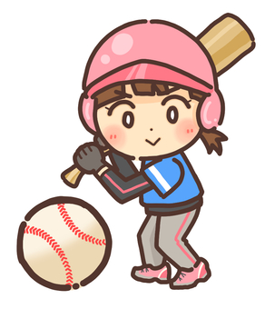 Batting girl playing baseball