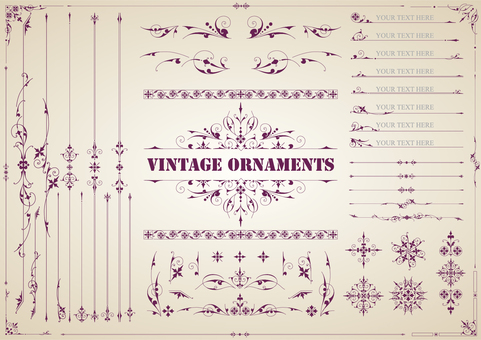 Vintage ornament set 01