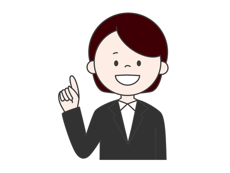 Female suit finger pointing