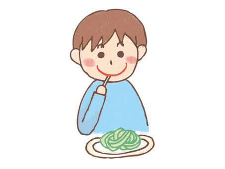 A boy who eats pasta