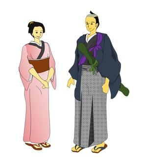Town girl and samurai