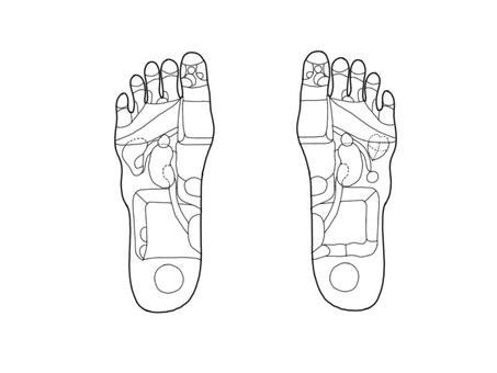 Reflective section of the foot Figure monochrome