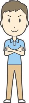 Blue polo shirt male -368 - whole body