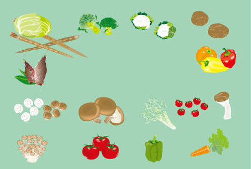 Illustration of vegetables Cabbage to carrot tomato