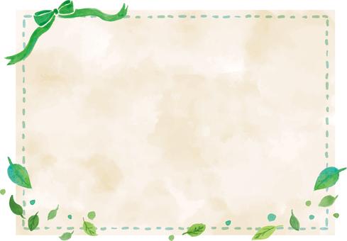 水彩背景とフレーム・新緑