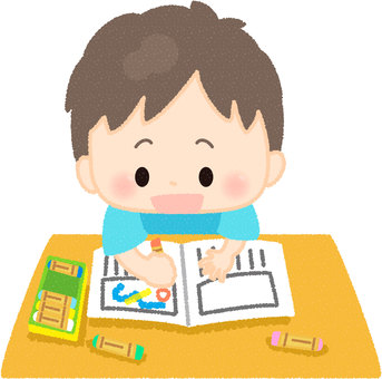 A boy drawing a picture diary