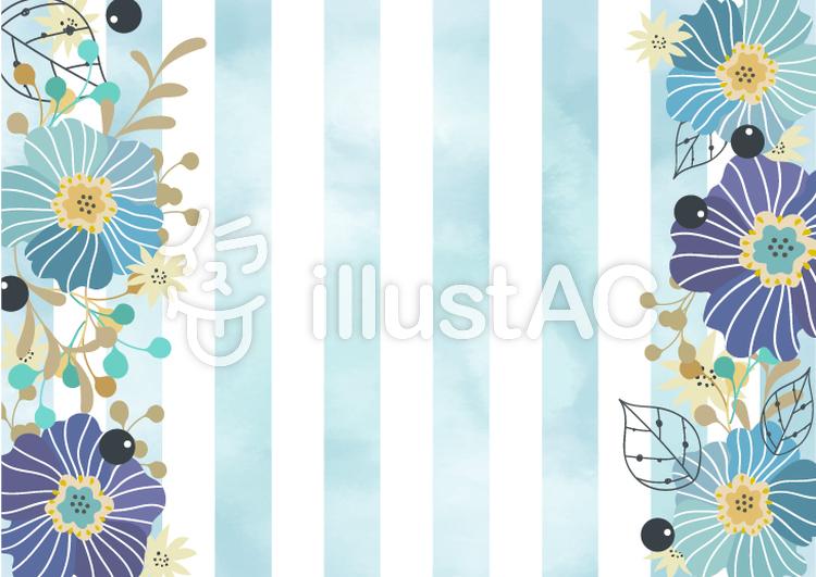 青い花飾りのおしゃれなカード フレームイラスト No 1171754無料