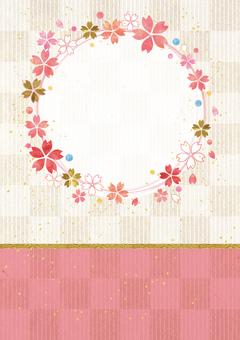 Cherry tree ring _ lattice _ Japanese paper _ vertical type 2215