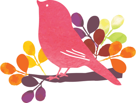 Watercolor autumn leaves and little bird