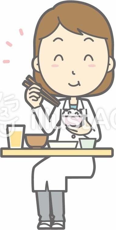 栄養士女性a-おいしい和食-全身のイラスト