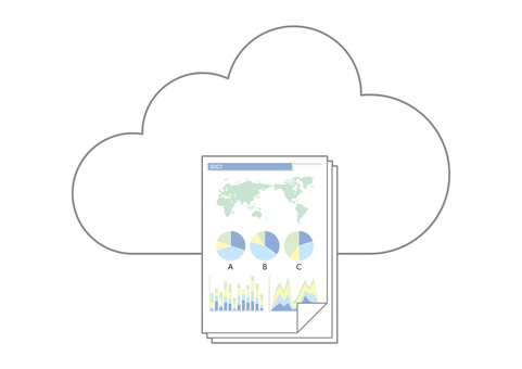 Multiple business materials images stored in the cloud