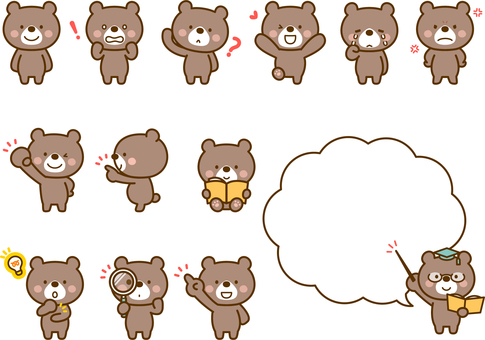 Various sets of bear poses