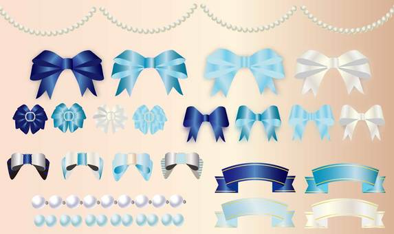 Blue luxury ribbon set
