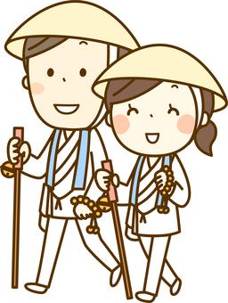 Male and female pilgrim