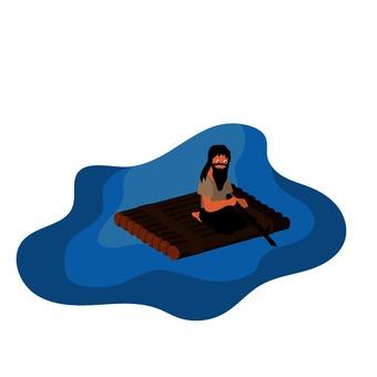 Illustration of uninhabited island Raft 2