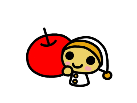 A dwarf with apples