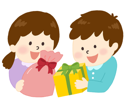 Children happy to receive a Christmas gift