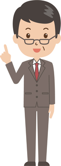 Middle-aged man   salaried worker   suits   pointing finger