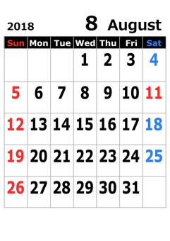 2018 calendar August