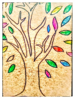 カラフルな木 アンティーク