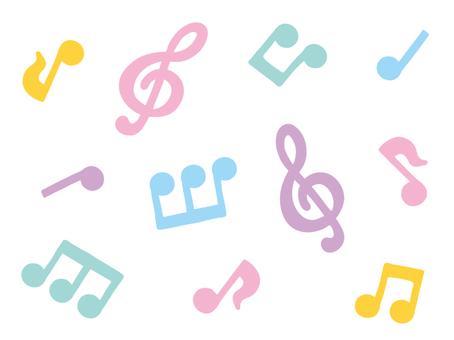 Pastel musical notes set