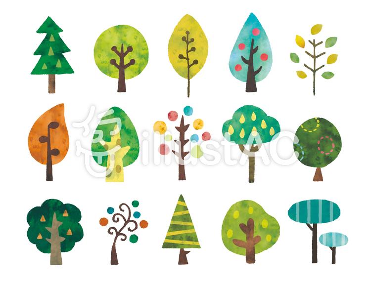 北欧風木水彩セットのイラスト