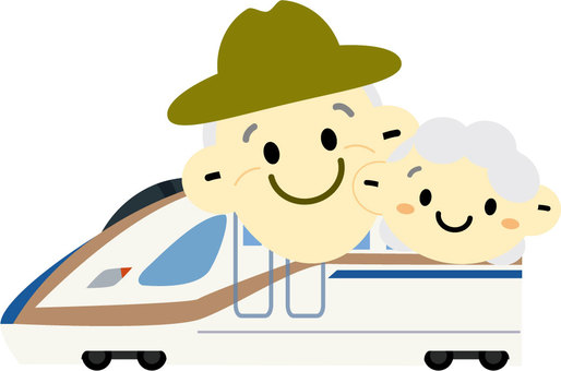 An elderly couple traveling in the Hokuriku Shinkansen