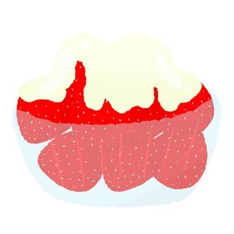 碗裡的煉乳草莓