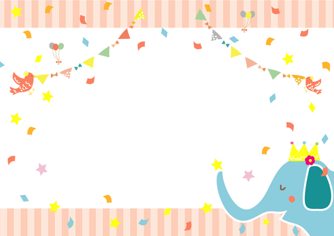 Bird and elephant celebration frame