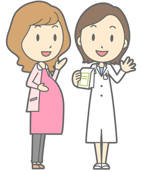 Pharmacist and patient - Pregnant woman - whole body