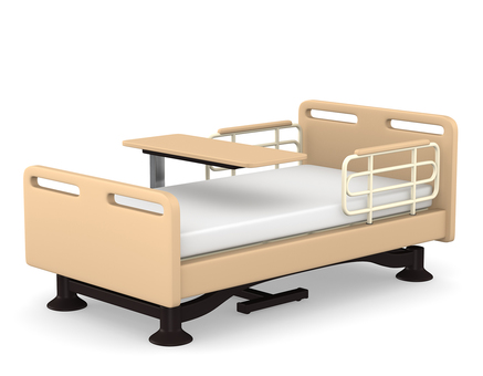 Care bed and table 3D illustration