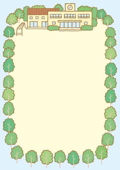 学校運動場フレームA4縦サイズ