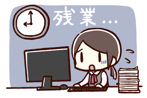 Woman overtime (with background character)