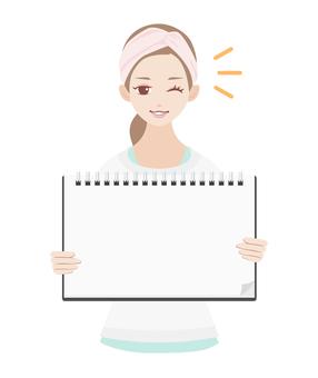 Skin care woman blank sketchbook