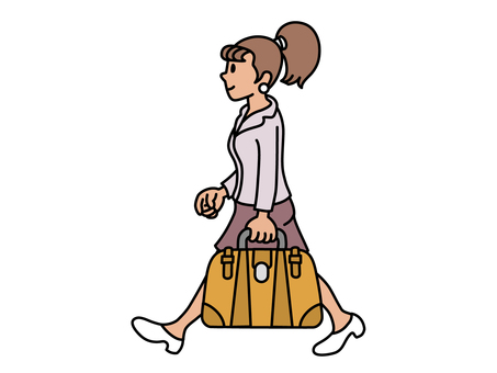 A girl walking with a Boston pack