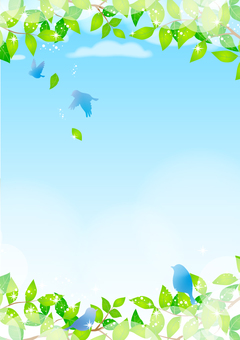 Fresh green frame with blue bird