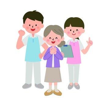 미소 할머니와 개호 직원의 남녀