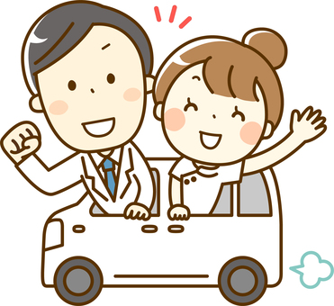 Doctor and nurse heading for a house visit by car