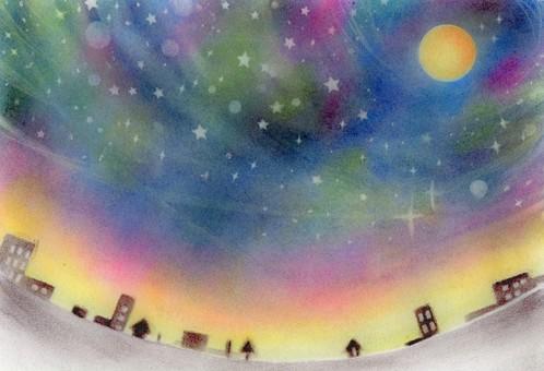 星空,滿月和城市景觀
