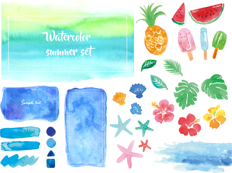 Summer watercolor material set