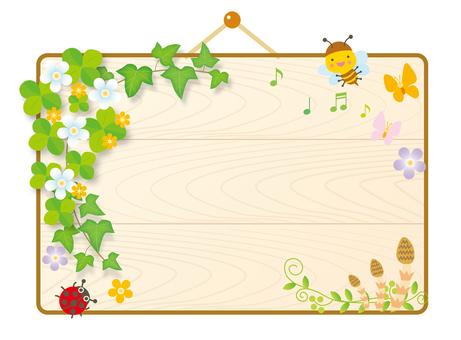 Bulletin board of spring breath Wood tone