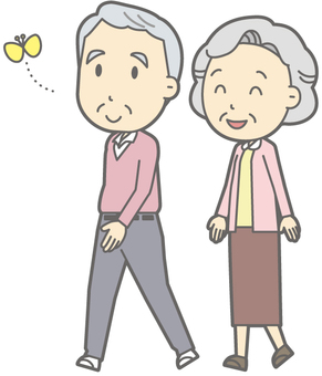 Elder couple - walking - whole body