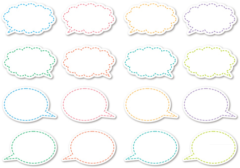 Speech bubble _ dashed line set