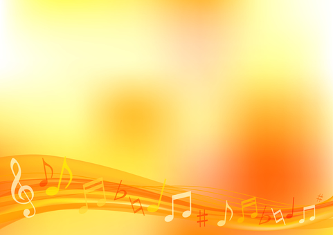 Orange wave music background frame border