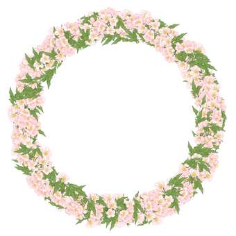 Circle of flowers and leaves