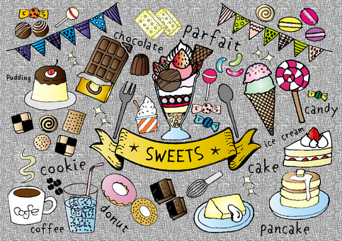 Sweets handwriting set color