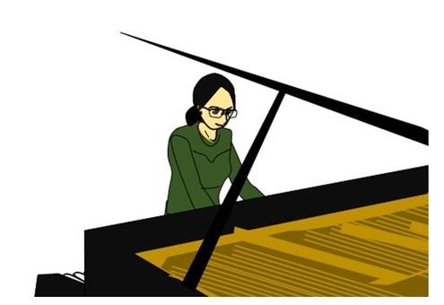 一個女人在彈鋼琴......起來