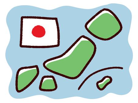 Hand drawn deformed Japan and national flag, sea